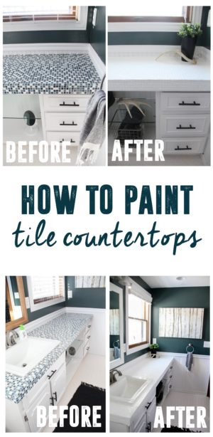 How To Paint Tile Countertops And Our Modern Bathroom Reveal Bright Green Door