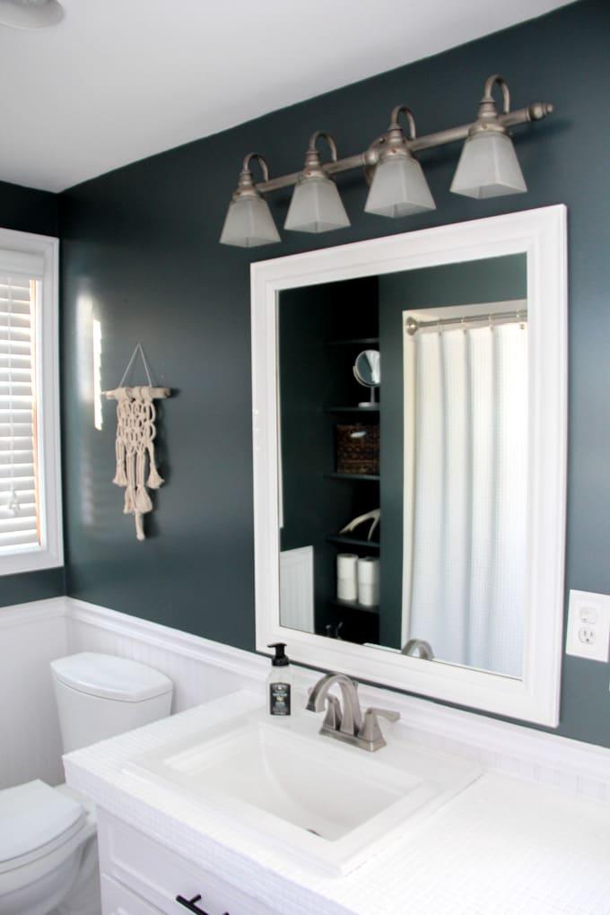 Modern Bathroom with Green Walls
