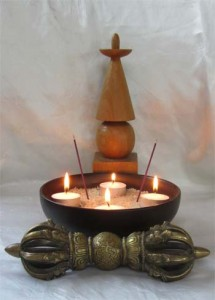 mitra page : candle lotus and stupa