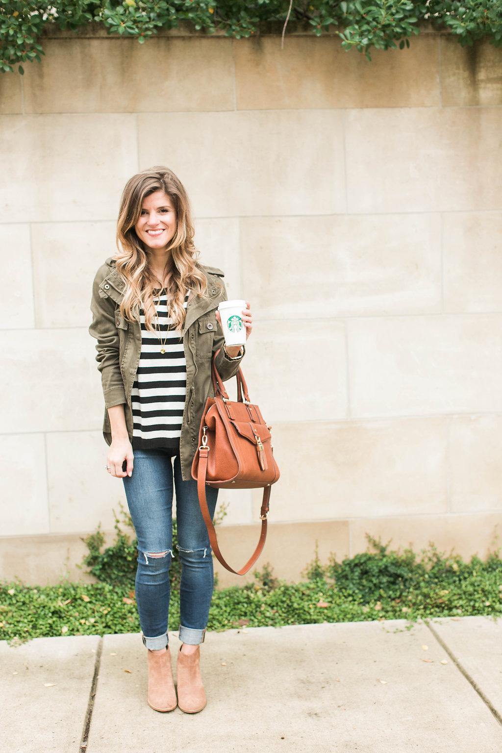 Simple & Cute Fall Outfit Idea - Stripes + Cognac + Green ...