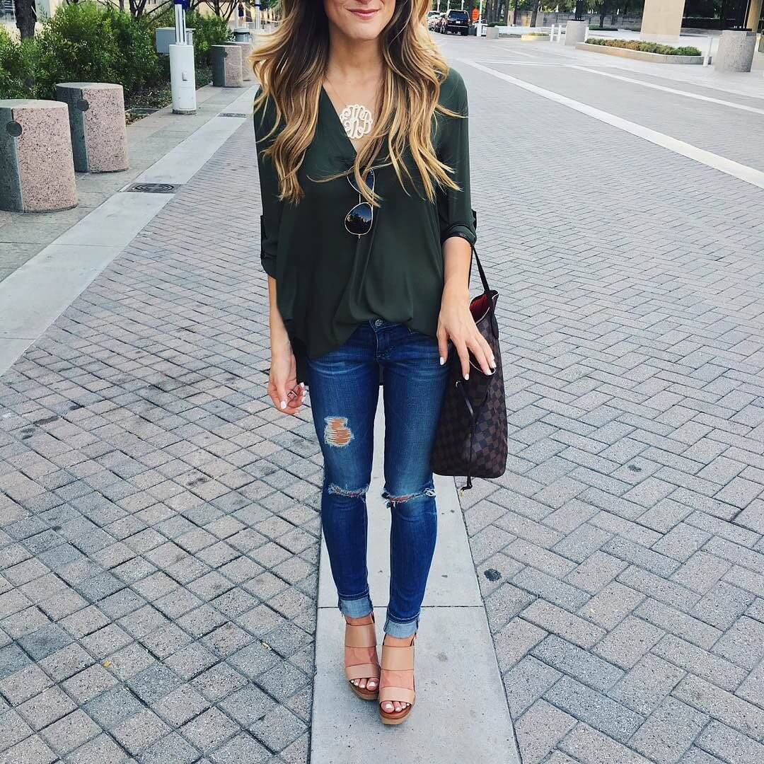 lush vneck + ag legging jeans + wedges