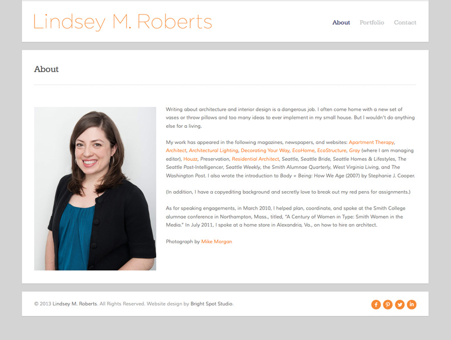 Lindsey M. Roberts' new About page by Tippi Thole of Bright Spot Studio