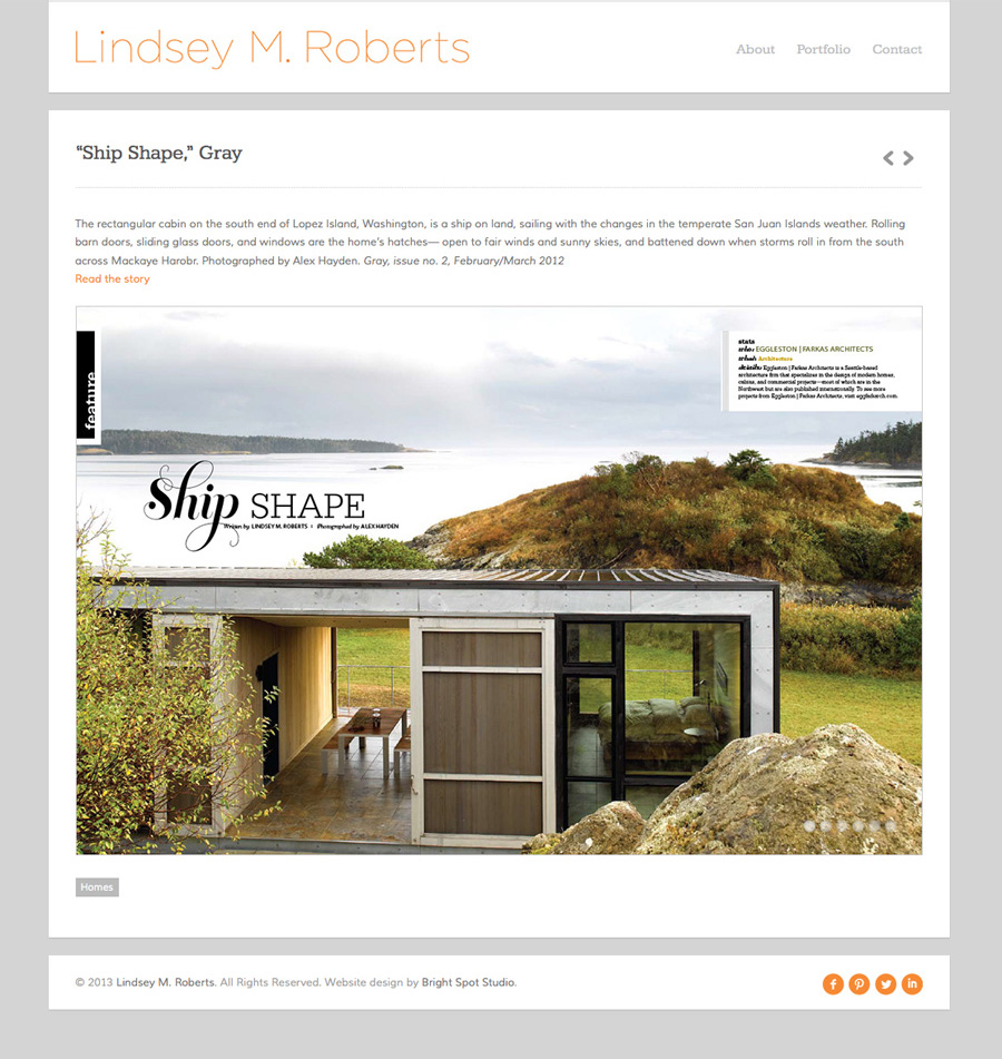 Lindsey M. Roberts' new website by Tippi Thole of Bright Spot Studio