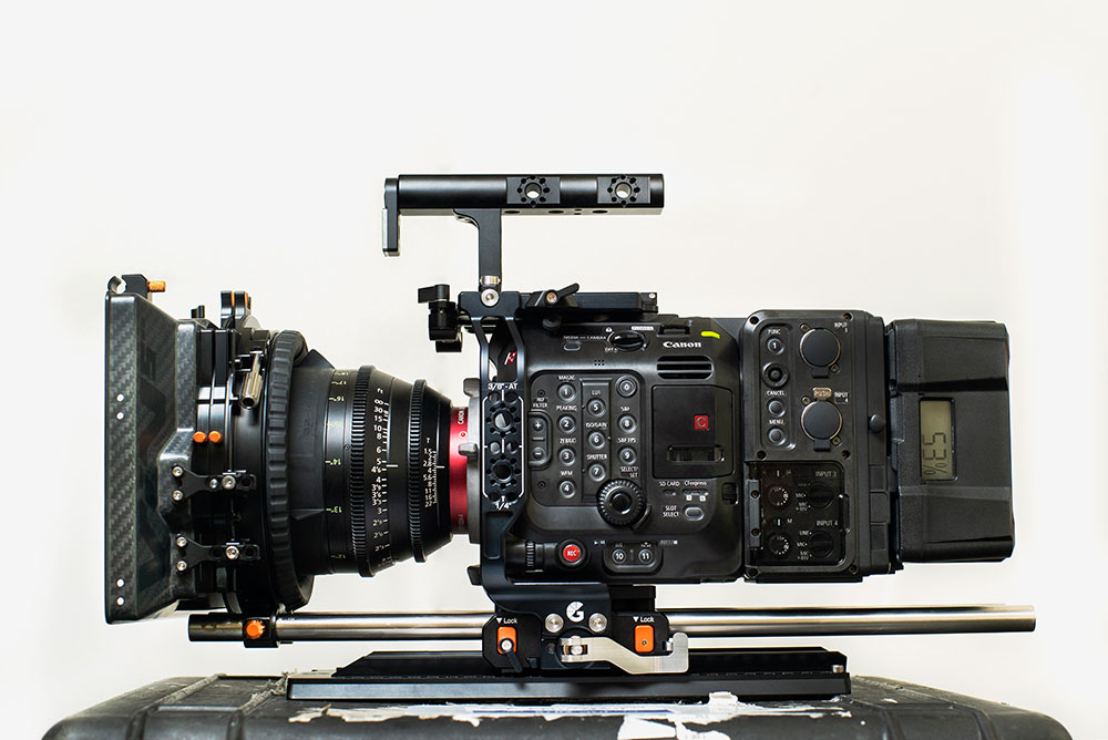Canon EOS C500 Mark II with EU-V2 module, fitted out in the Left Field Cage, Drumstix support & VIV 5