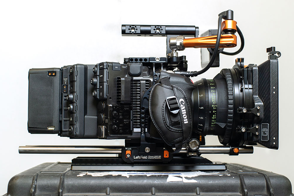 Canon EOS C500 Mark II with EU-V2 module, fitted out in the Left Field Cage, Drumstix support, Titan Arm & Revolvr follow focus
