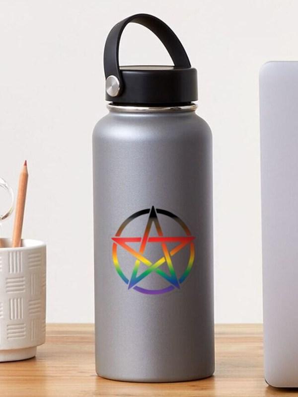 Progress Pride Flag Pentagram Sticker on a Water Bottle