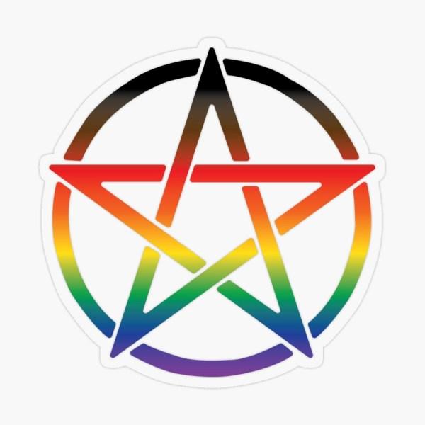 Progress Pride Flag Pentagram Sticker