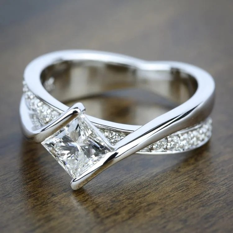 Princess Bezel Diamond Bridge Engagement Ring In White Gold