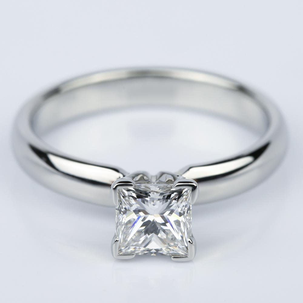 Comfort Fit Princess Cut Diamond Engagement Ring 074 Ct