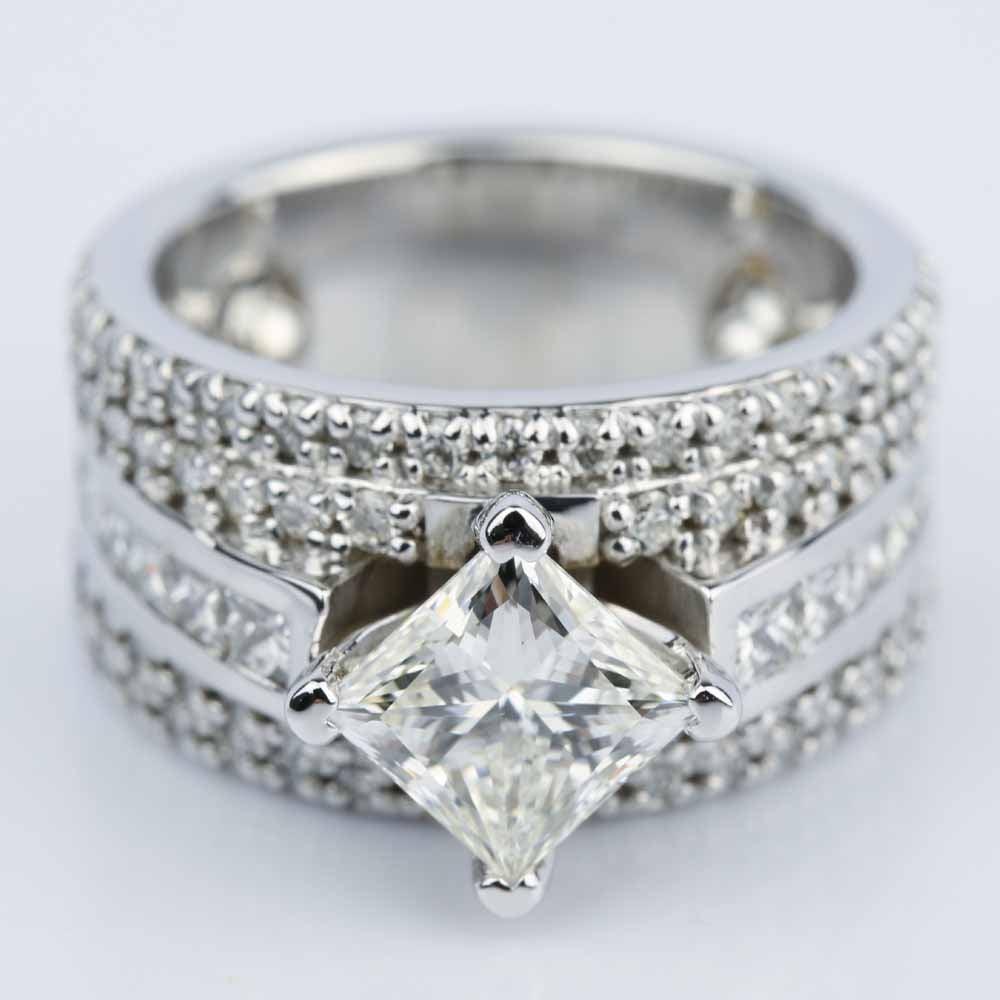 Custom 151 Carat Princess Engagement Ring In White Gold