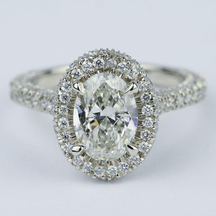 Custom Three Sided Pave Halo Oval Diamond Engagement Ring