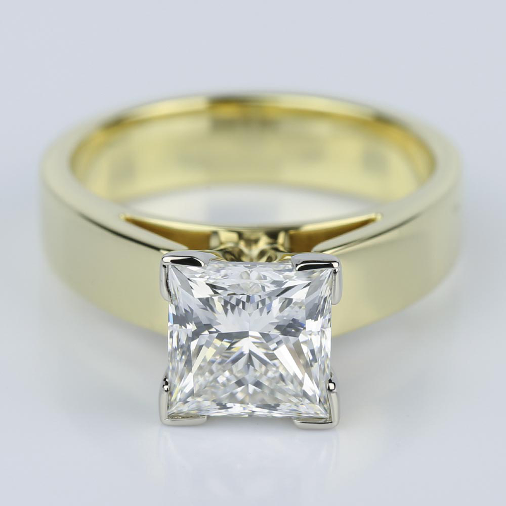 Flat Cathedral Solitaire Princess Diamond Engagement Ring