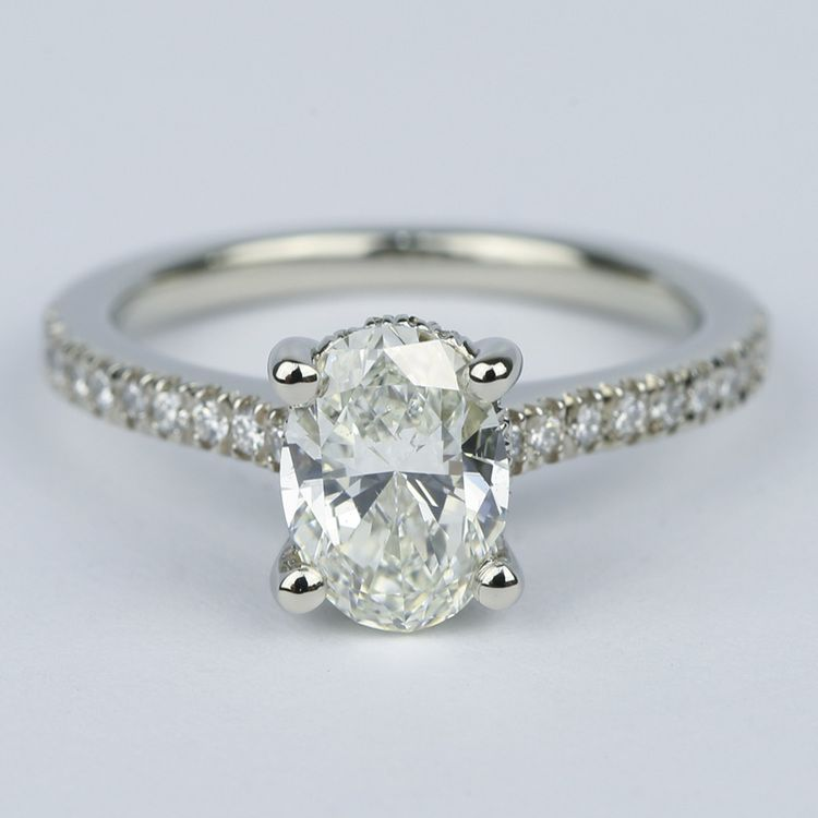 Oval Micro Pave Engagement Ring With Diamond Gallery 120