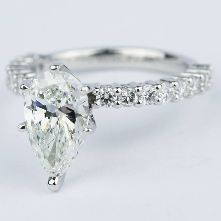 192 Carat Pear Diamond Shared Prong Engagement Ring