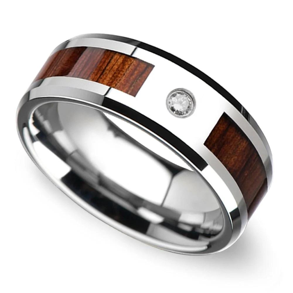 Beveled Diamond Mens Wedding Ring With Koa Wood Inlay In