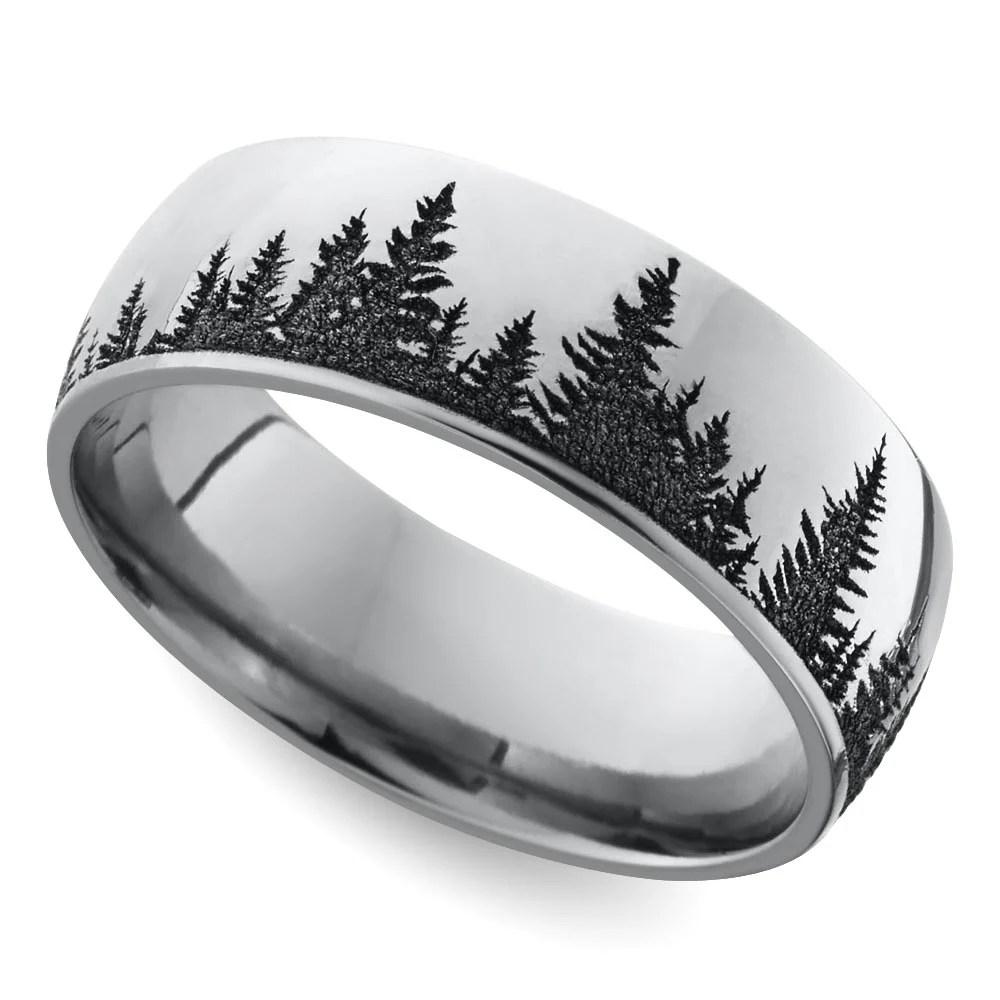 Laser Carved Forest Pattern Mens Wedding Ring In Cobalt