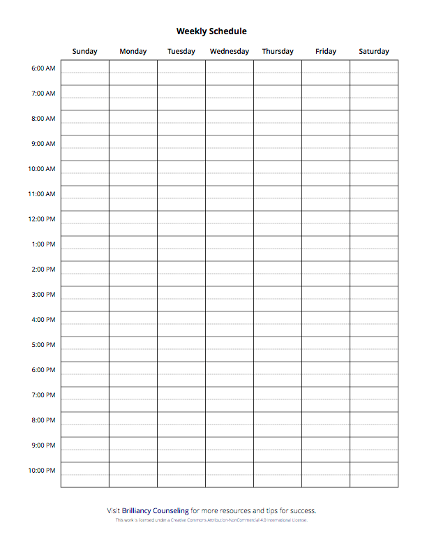 Weekly Schedule- Sunday start