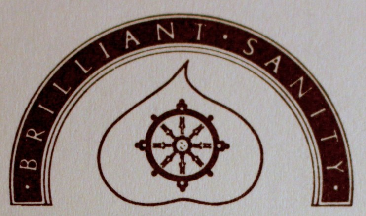 "The Contemplative Psychotherapy crest - ""Brilliant Sanity"" in an arc, above a dharma wheel centered in a bodhi leaf"