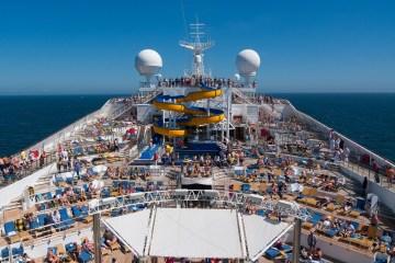 A large cruise ship