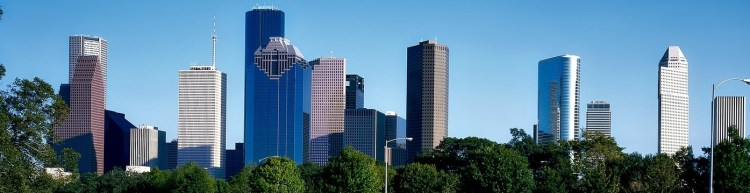 The skyline of Houston on a sunny day