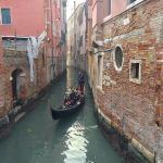 A gondola in a canal in Venice