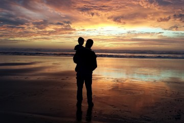 Beach Sunset with Father and Child
