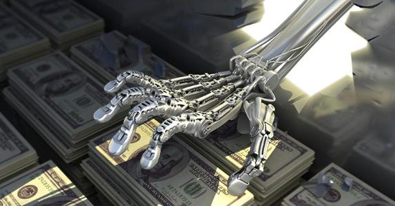 Robot's hand breaking through wall and stealing money | Inok/E+/Getty Images