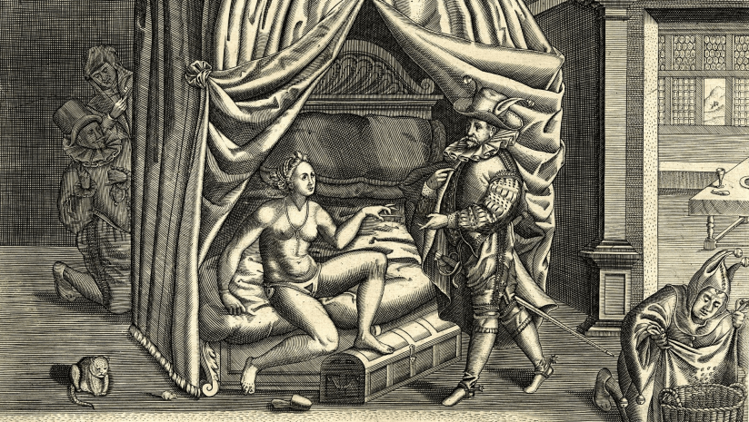 A woman cheating on her husband; a naked woman with a chastity belt sits on a bed with her foot on a chest and offers a key to a finely attired man with fool's ears; two figures observe the scene from the shadows and a fool empties a sheet of lice(?) into a basket; a satire