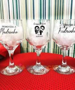 Taça de Vidro Personalizada Bistrô para Vinho Tinto e Branco 260ml 1