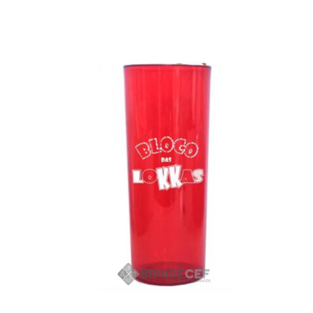 Copo Long Drink Personalizado Vermelho Transparente
