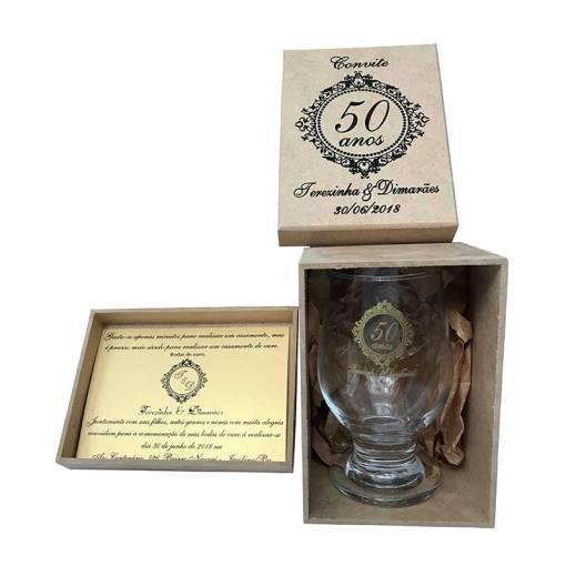 kit taca de vidro modelo paulista 300ml caixa de mdf personalizada