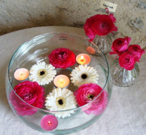 Coupe ronde fleurie