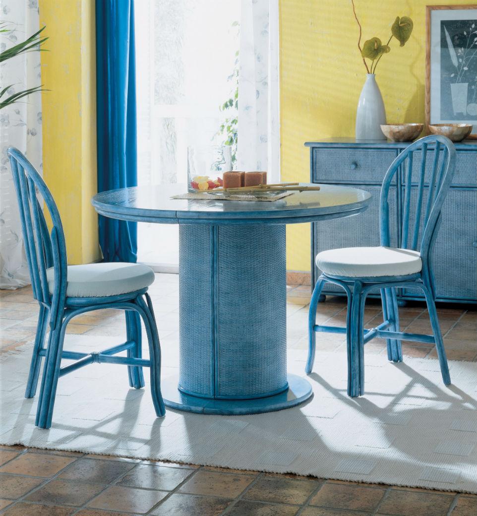 table ronde en rotin avec 2 allonges blanche mat