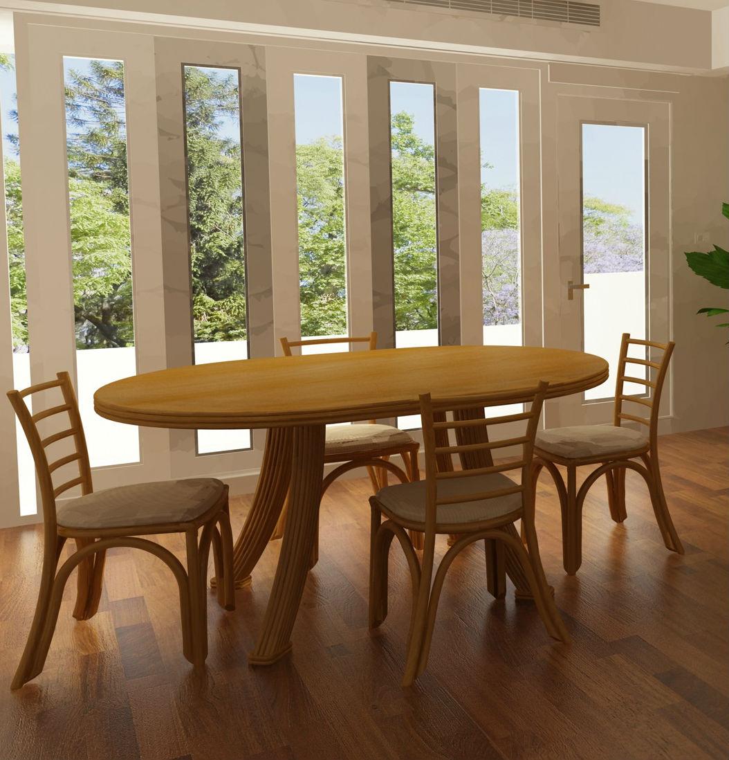 table ovale extensible en rotin