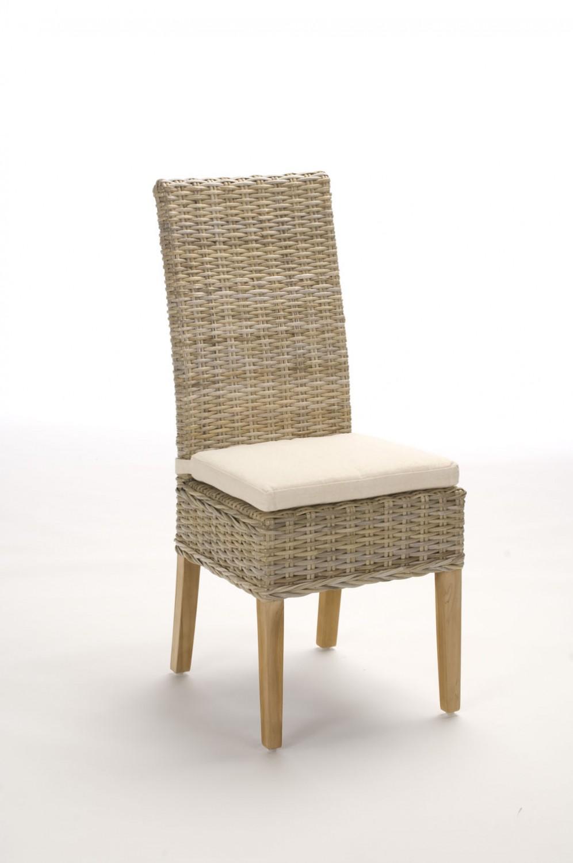 chaise en rotin gris tresse kubu