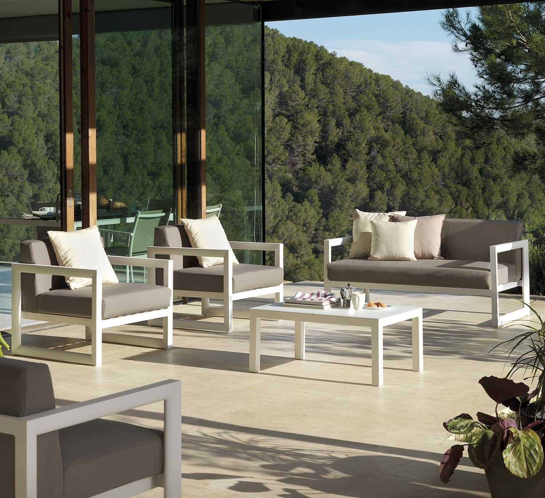 salon de jardin en aluminium blanc