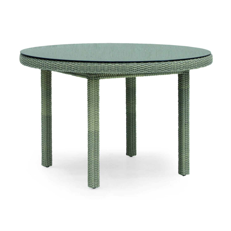 table de jardin ronde 120 cm en resine tressee et aluminium