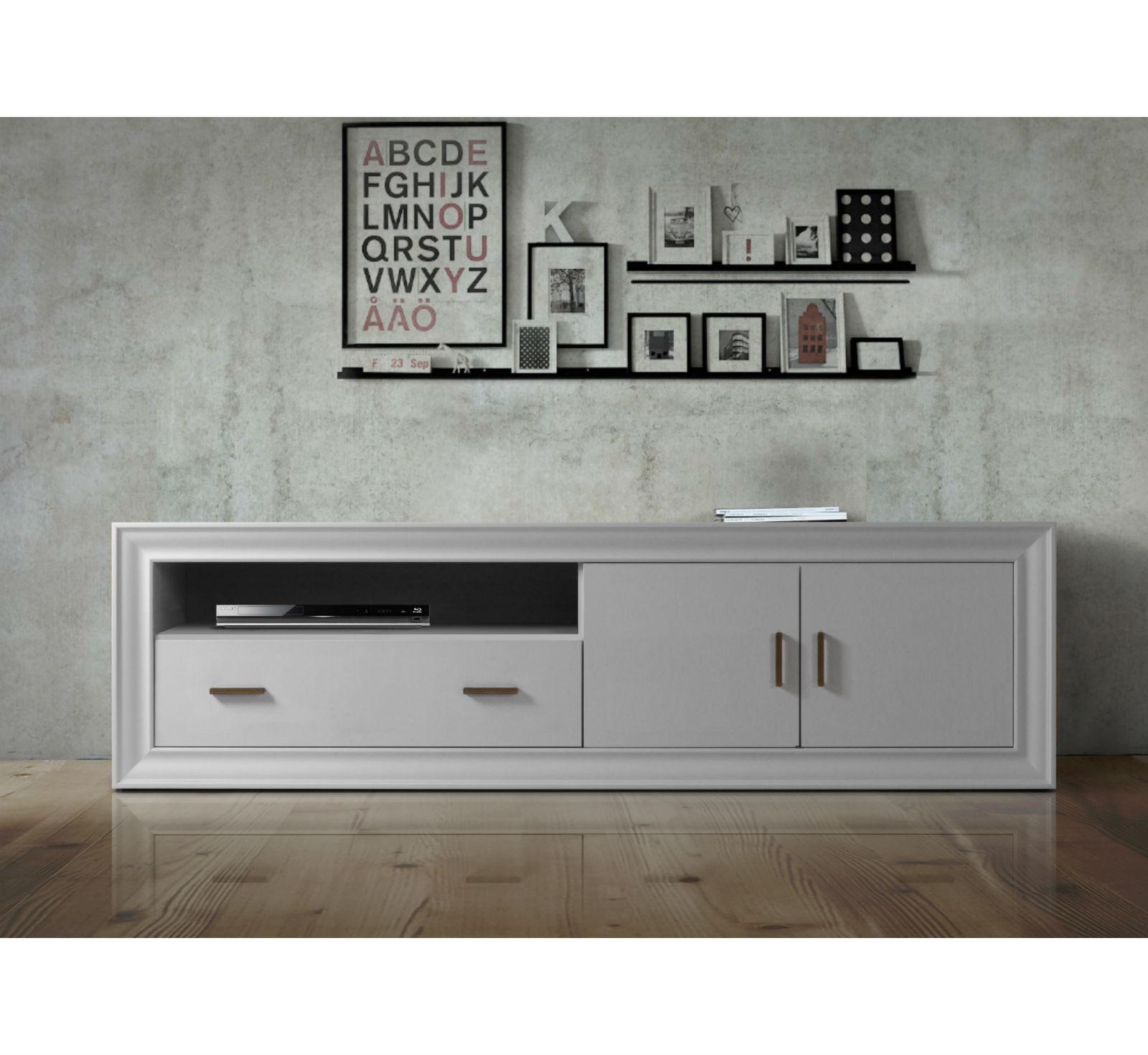 meuble tv en hetre 2 portes 1 tiroir brin d ouest