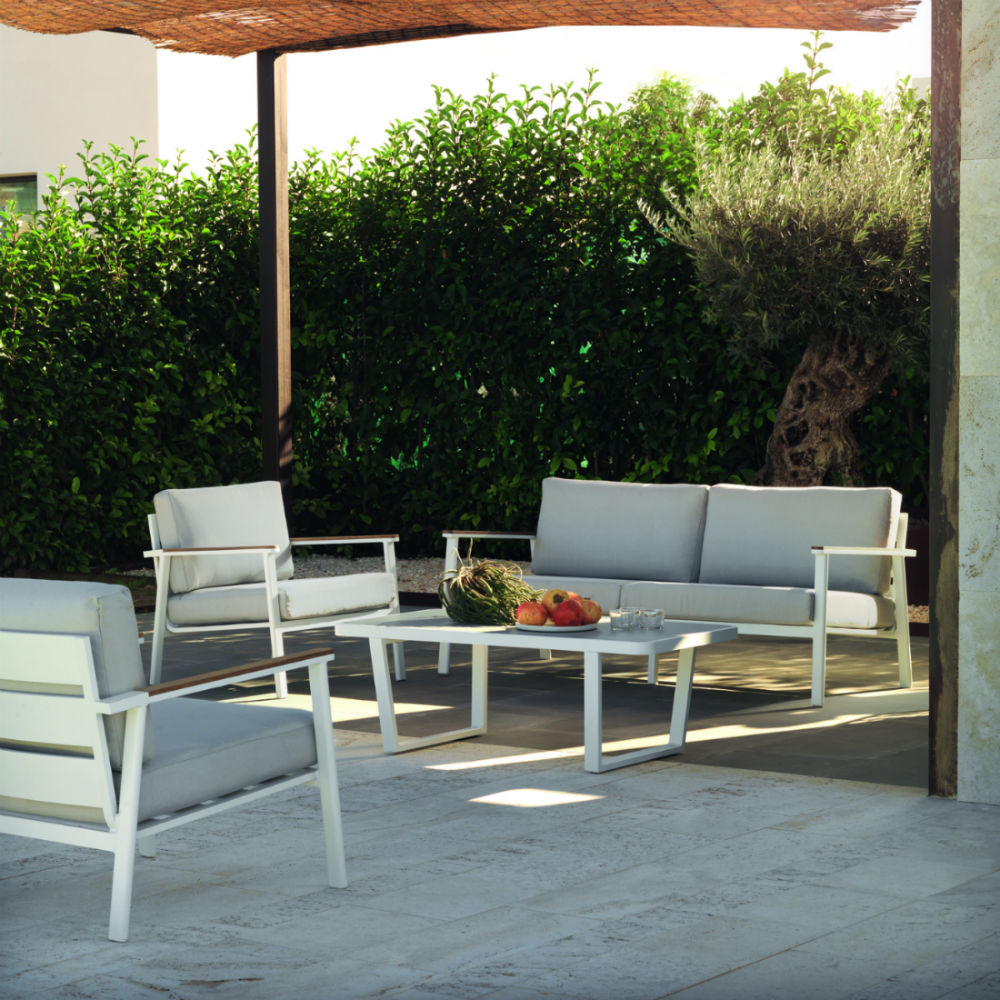 salon de jardin bas en aluminium blanc