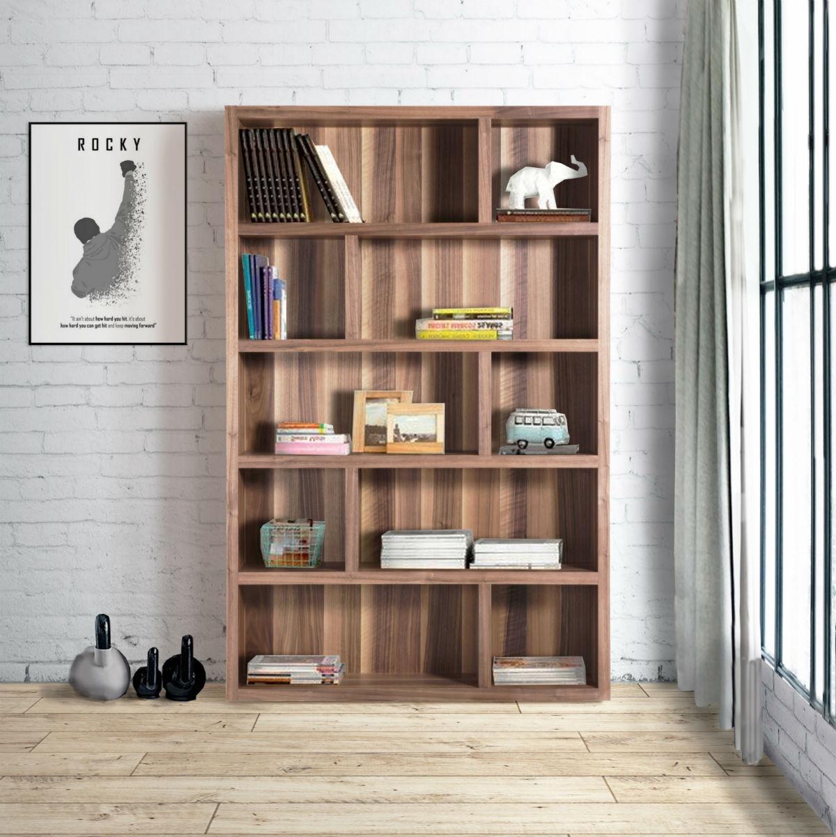bibliotheque en noyer 126 cm x 197 cm de fabrication espagnole