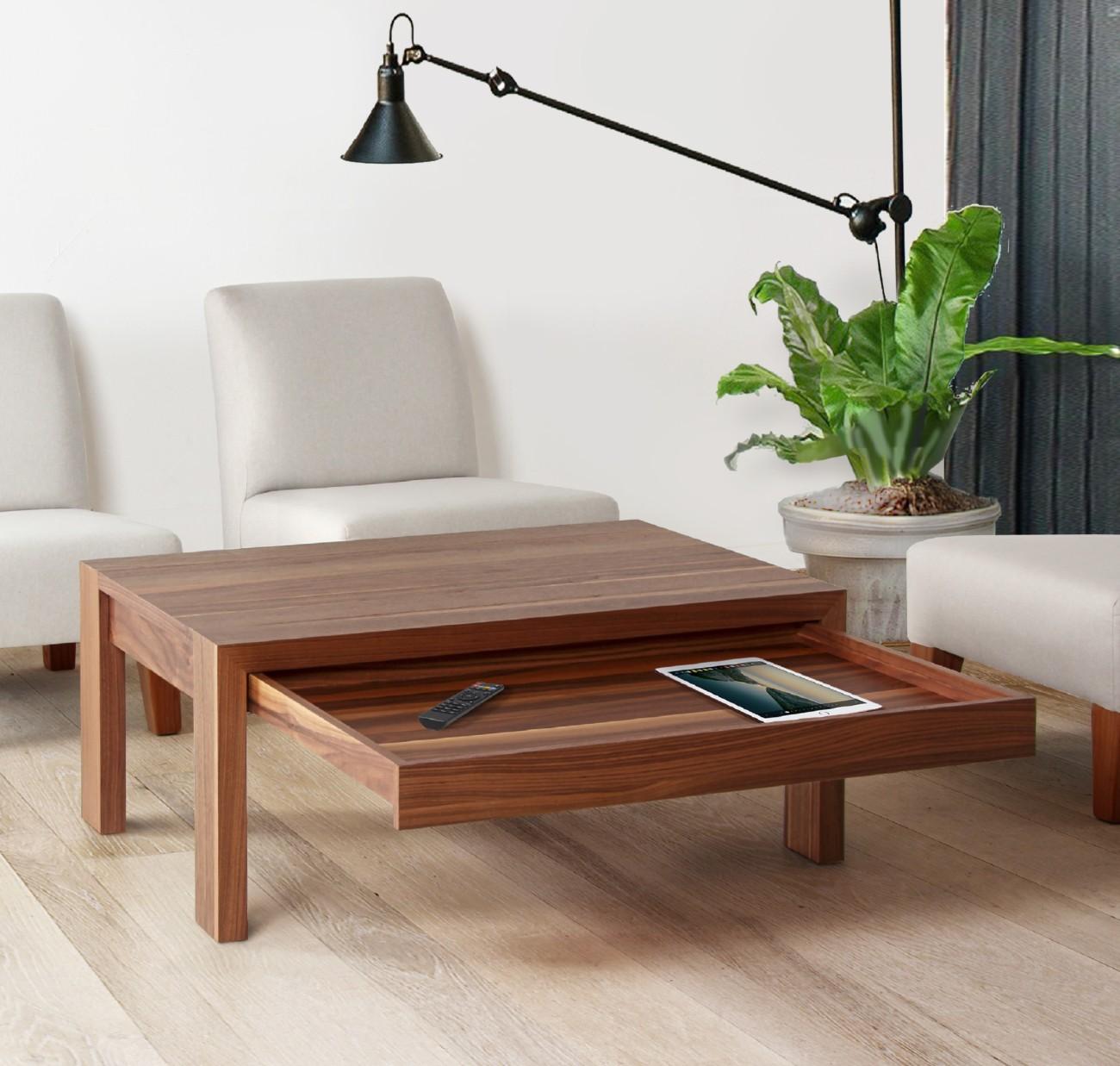 table basse rectangulaire avec tiroir en bois