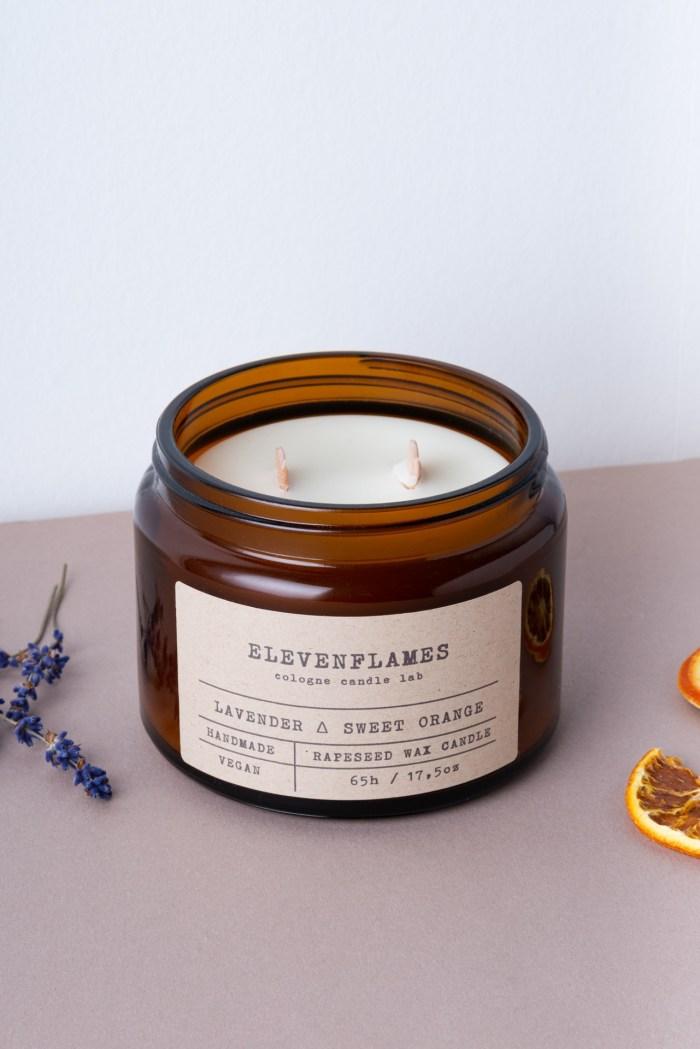 rapskerze lavendel sweet orange Eleven Flames Pduktbild 2