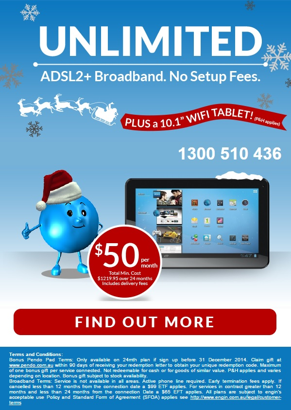 Engin - $50 Unlimited ADSL with Bonus Wi-fi Tablet
