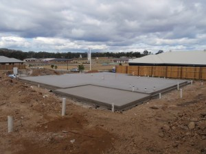new concrete house slab with step down