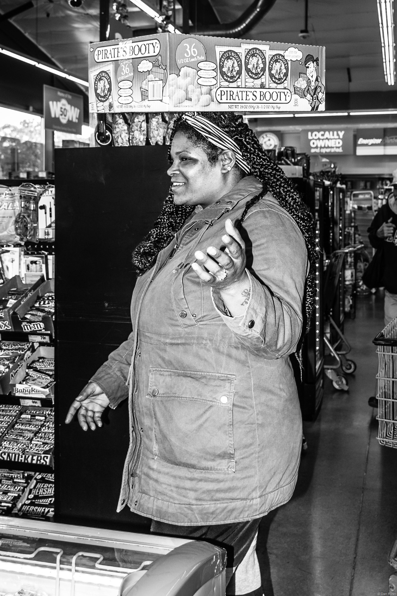 African-American woman with microwave popcorn
