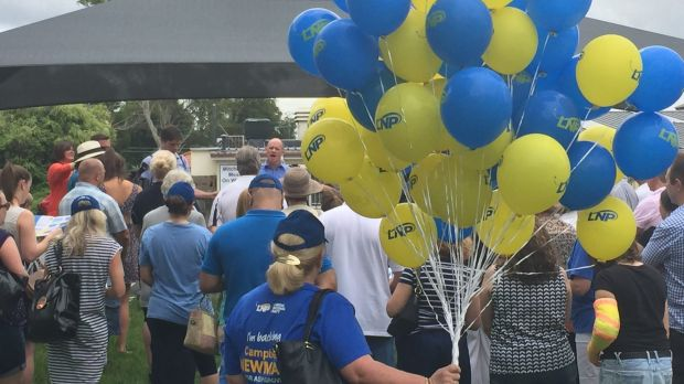 Premier Campbell Newman addresses the party faithful in Ashgrove for the first time in the campaign.