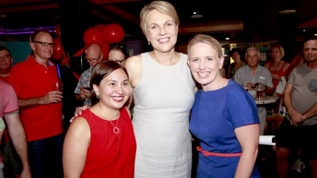 ALP candidate Kate Jones and federal ALP member for Sydney and Deputy Leader of the Opposition, Tanya Plibersek, at the Ashgrove Golf Club, Brisbane.