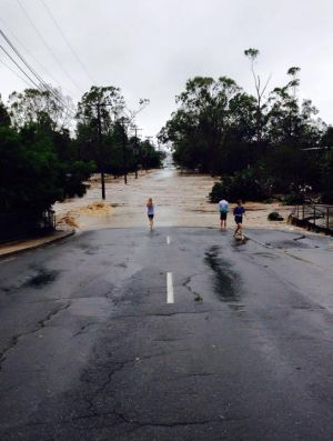 Flooding at Elphinstone Street, Rockhampton, in the wake of Tropical Cyclone Marcia.