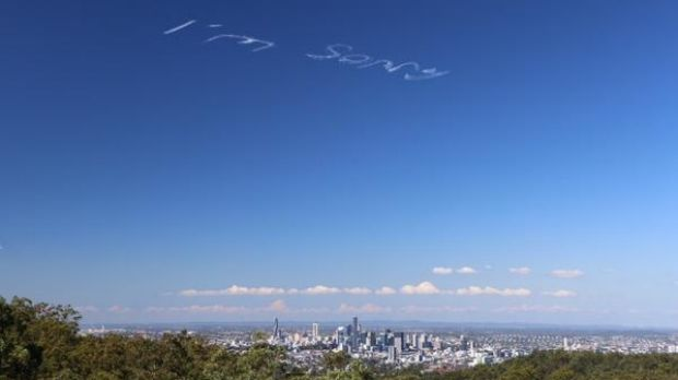 """The words """"I'm sorry"""", followed by """"I love you"""" were written across the Brisbane sky just after lunchtime on April 27."""