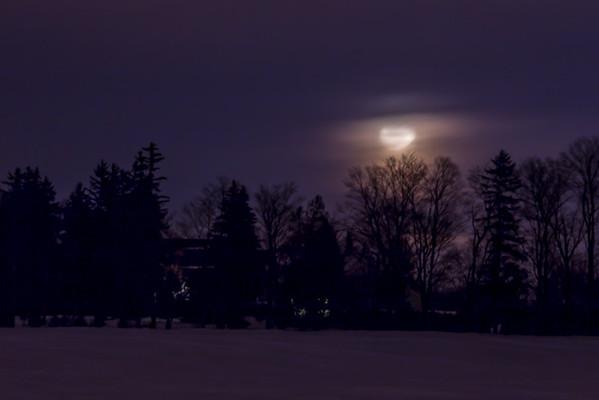 Moonrise through the fog